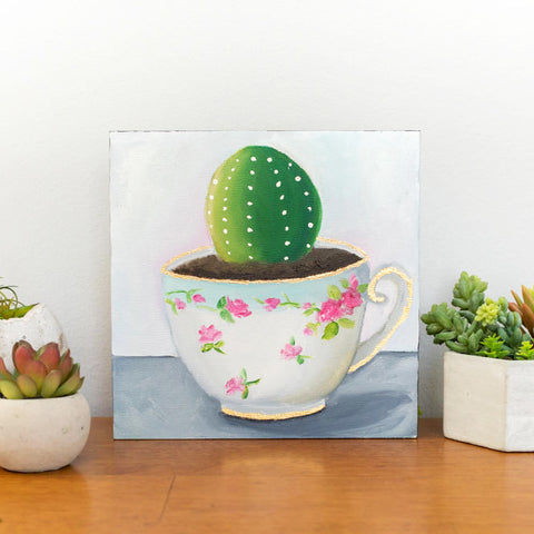 Cactus in Vintage Teacup - 8x8 inch Original Oil Painting