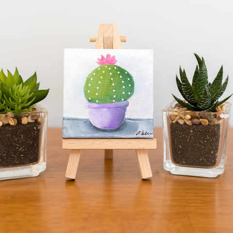 Cactus Art Tiny Cactus Original Oil Painting - 3x3 Original Oil Painting