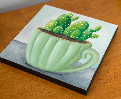 Succulent Original Painting - 8x8 Painting - april bern art & photography