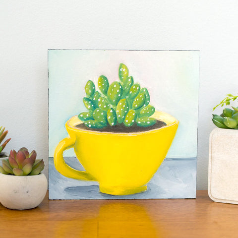 Succulent in Yellow Vintage Teacup - 8x8 inch Original Oil Painting