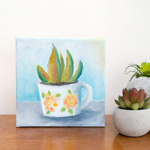 Succulent and Vintage Coffee Mug Painting - 6x6 Original Oil