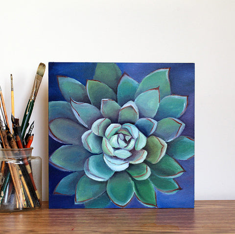 Succulent 12x12 Original Oil Painting, Southwest Decor