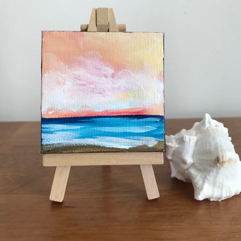 Ocean Sunrise Original Acrylic Painting - 3x3 Tiny Art