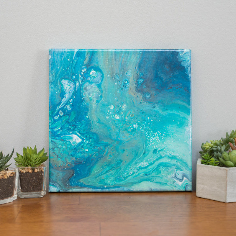 Tidepool Blue Abstract Art - 10x10 Acrylic Painting - april bern photography