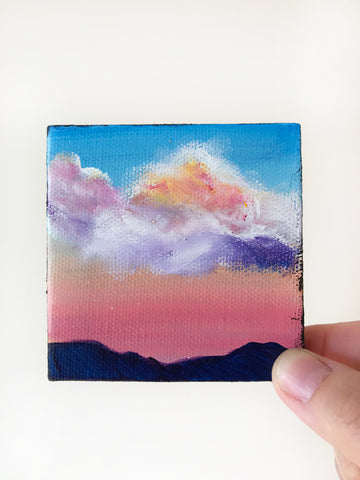 Glowing Sunrise Original Acrylic Painting - 3x3 Tiny Art - april bern photography