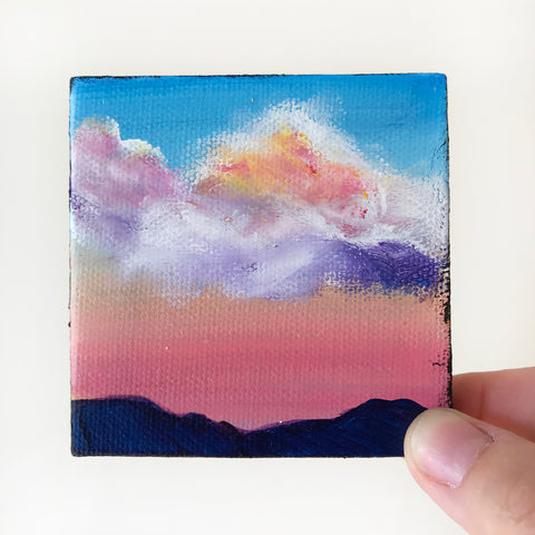 Glowing Sunrise Original Acrylic Painting - 3x3 Tiny Art