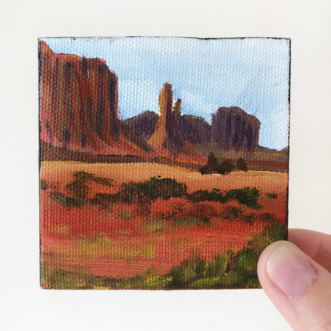 Arizona Landscape Original Acrylic Painting - 3x3 Tiny Art