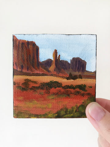 Arizona Landscape Original Acrylic Painting - 3x3 Tiny Art - april bern art & photography