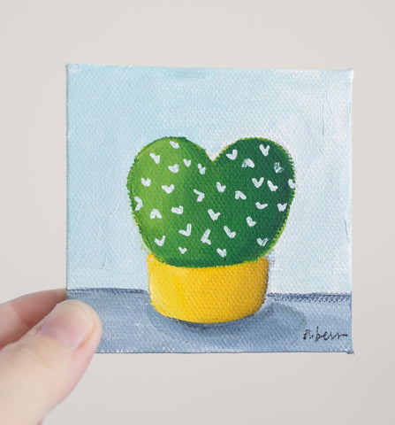 Heart Shaped Tiny Cactus Original Oil Painting - 3x3 Original Oil Painting - april bern photography