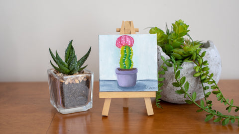 Tiny Cactus Original Oil Painting  - 3x3 Original Oil Painting - april bern photography