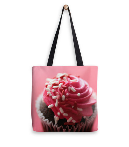 Pink Cupcake Fine Art Photo Canvas Tote Bag - april bern photography