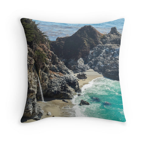 Big Sur Waterfall Decorative Throw Pillow - april bern photography