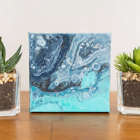 Tiny Ocean - 4x4 Abstract Acrylic Painting