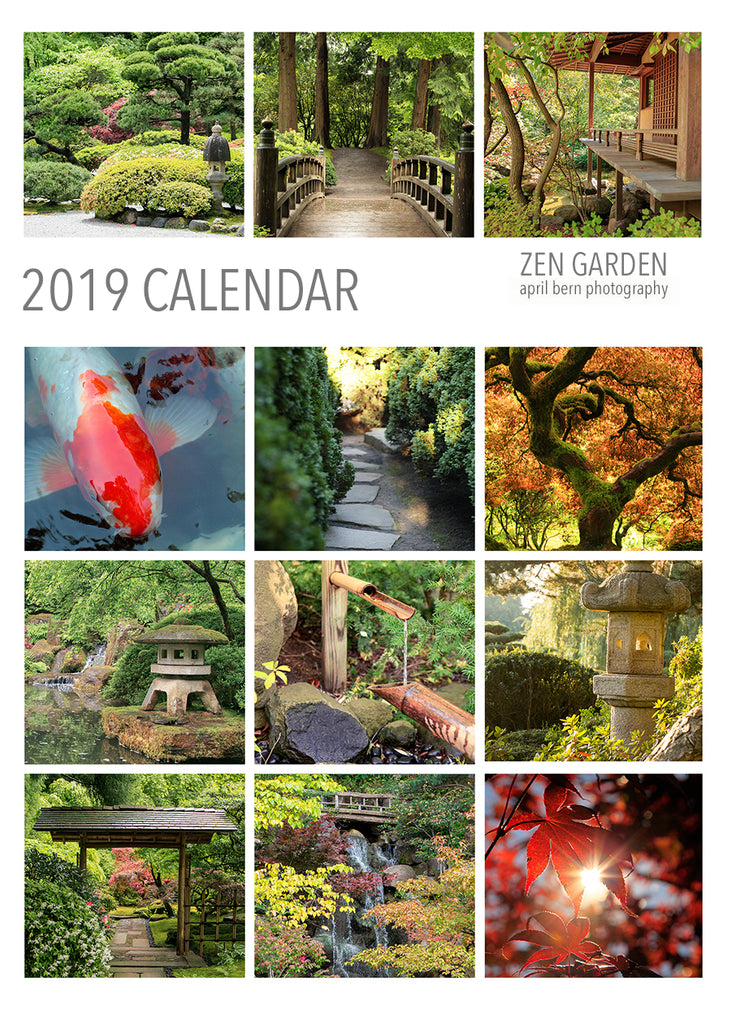 2019 Zen Garden 5x7 Desk Calendar - april bern photography