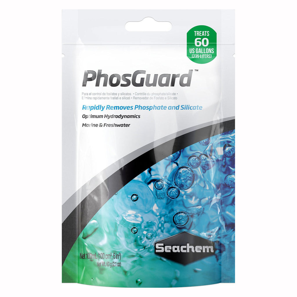 Seachem PhosGuard Phosphate & Silicate Control (100 mL) - In Media Bag - Treats 60 Gallons
