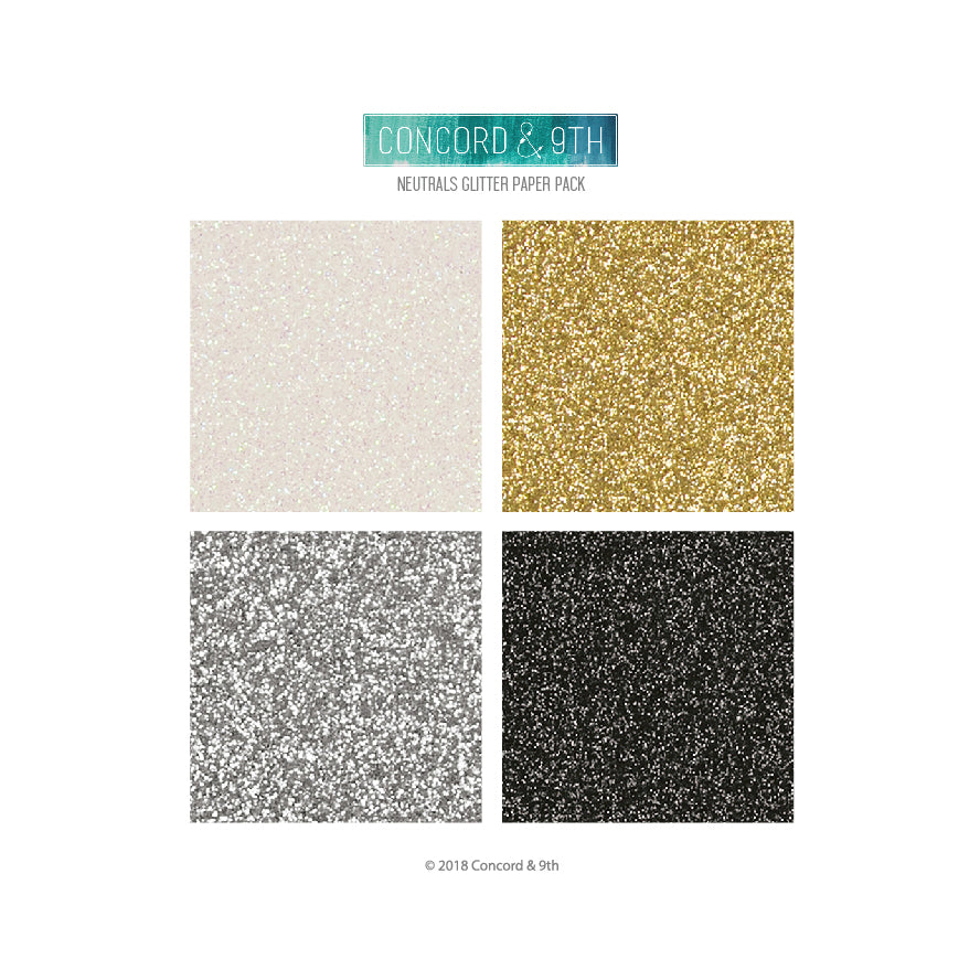 neutrals glitter paper pack - C&9th