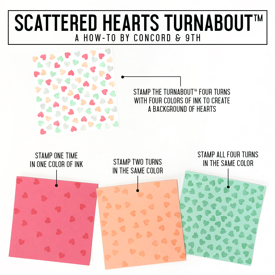 Scattered Hearts Turnabout™ Stamp