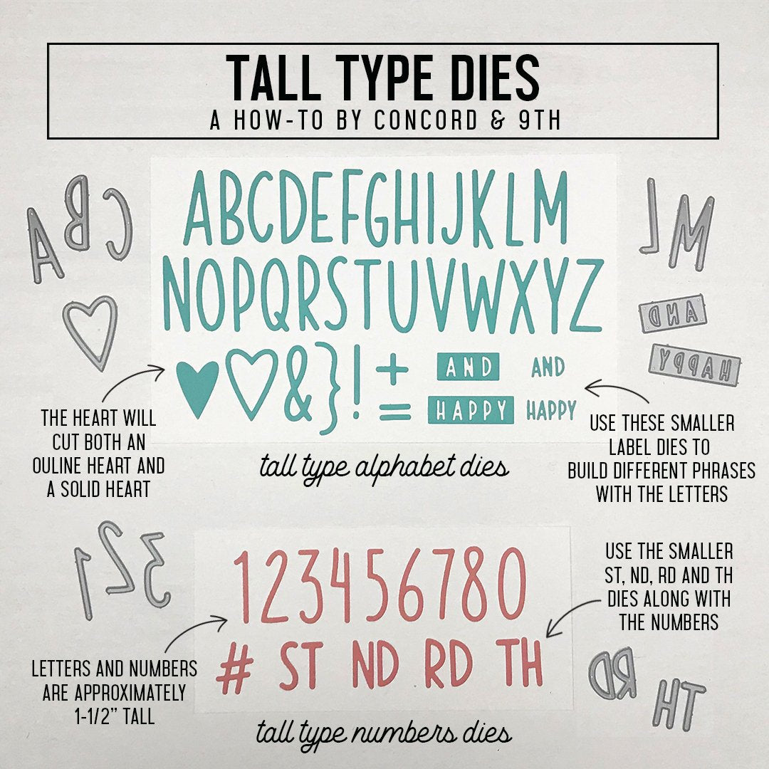 Tall Type Numbers Dies