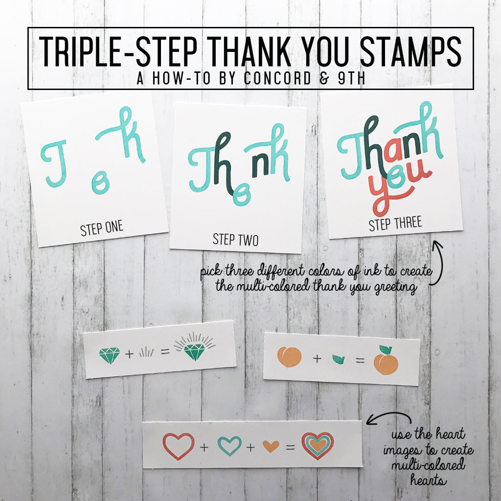 Triple Step Thank You Stamp