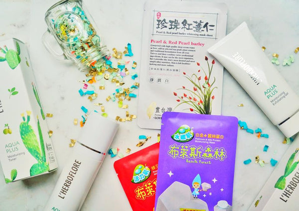 Sheet masks and L'herboflore Skincare Products