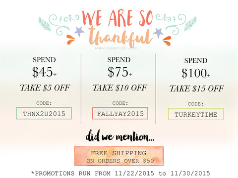 beautibi thanksgiving promo specials