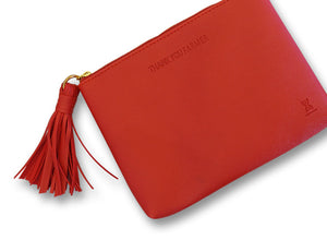 THANK YOU FARMER Tassel Makeup Pouch - Red
