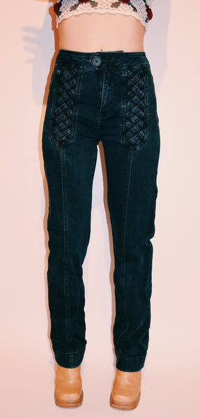 Braided Up 70s Jeans (sz 4)
