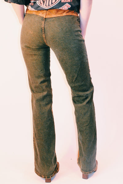 BEBE 90's does 70s Denim & Corduroy Bell Bottoms (M)