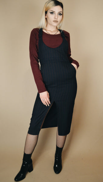 Dark Blue Striped Suspender Dress (S)