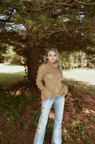 Brown Lace Up Knit Turtleneck