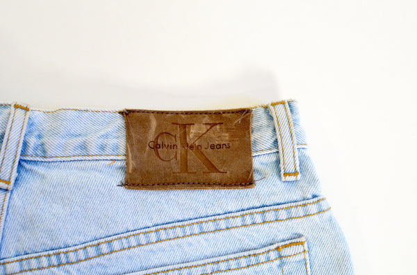 calvin klein light wash denim high waisted vintage shorts