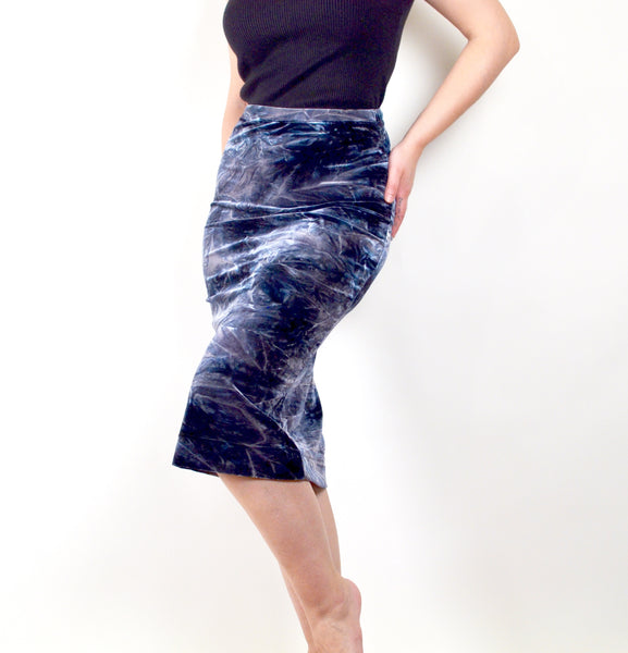 Acid Washed Velvet Skirt