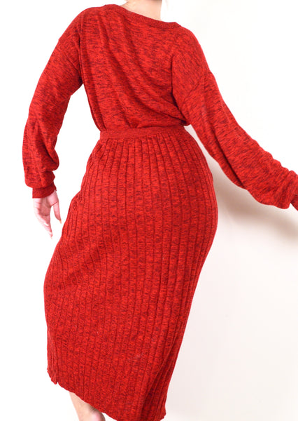 90s Vintage Red Skirt & Sweater Matching Set