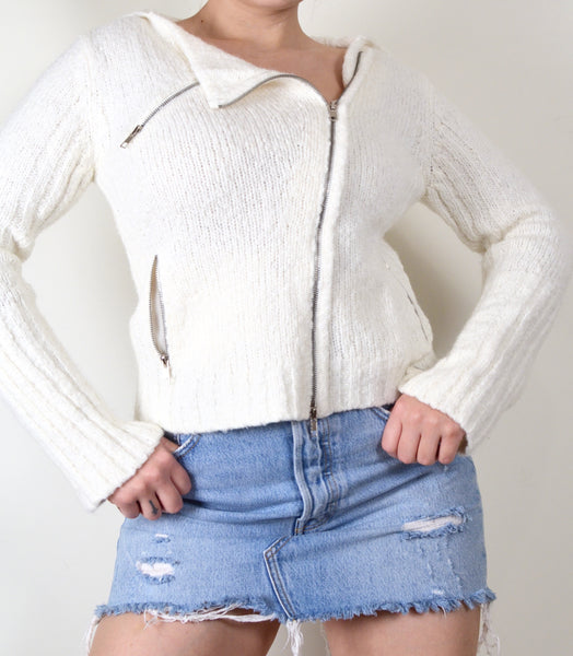 Eggshell Vintage Knit Zip Up Cardigan