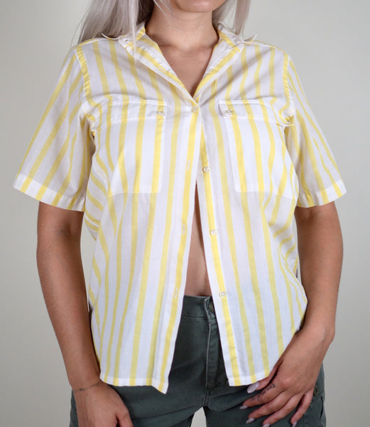 White & Yellow Striped Button Up