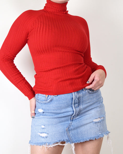 Red Ribbed INC Sweater
