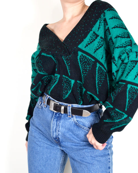 80s Green & Black Patterned Grandma Sweater