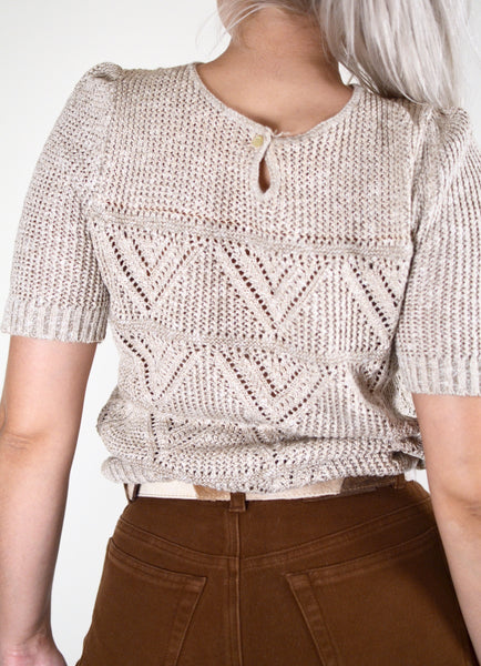 Beige Vintage Knitted Short Sleeve Top (M/L)