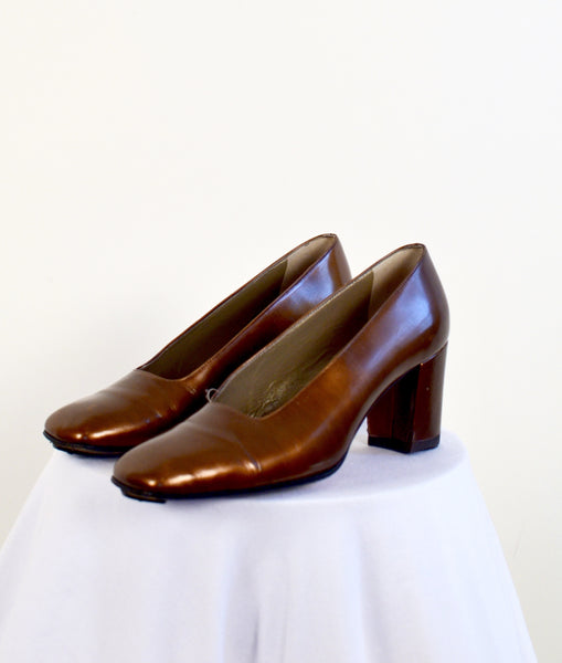 Yves Saint Laurent Vintage Bronze Leather Heels