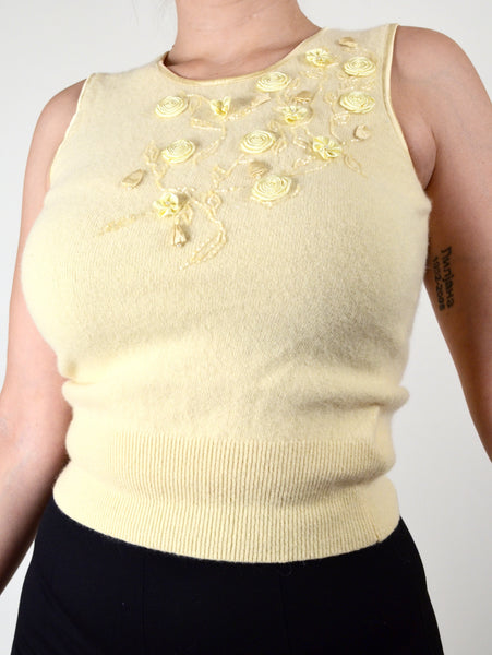 Pastel Yellow Vintage Wool Tank Top