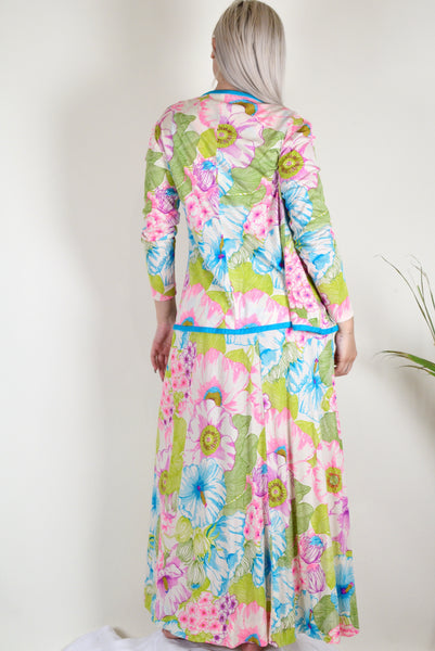 1960s Style Floral Two Piece Skirt & Cardigan Set