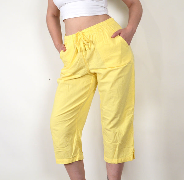 Yellow High Waisted 90s Beachy Vintage Capri Pants