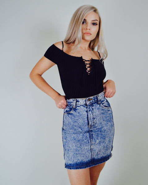Acid Washed 80s Denim Bow Skirt (X-S/S)