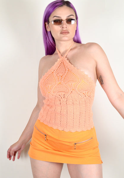 Boho Orange Crochet Halter