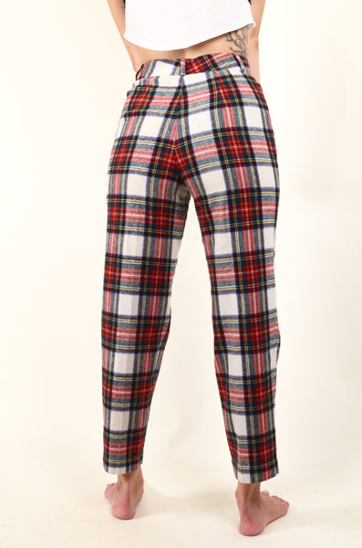 90s Style Vintage Plaid High Waisted Pants