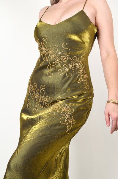 Hand-beaded Y2K Gold Gown