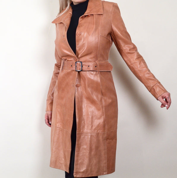 Masterpelle Beige Vintage Leather Trench Coat