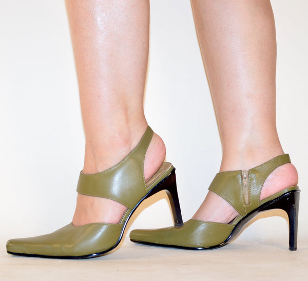 90s Olive Green Cut-Out Sandals