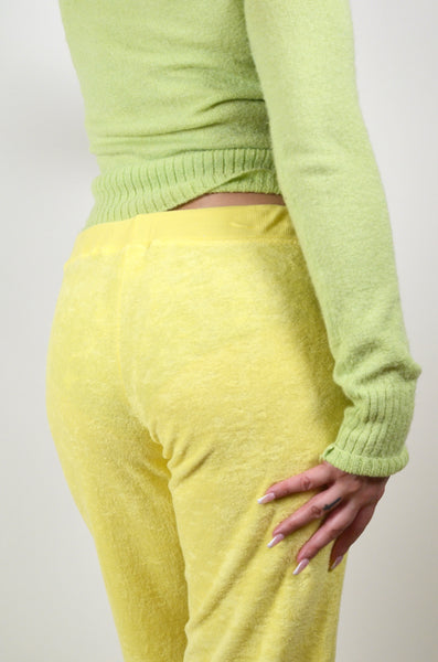 Yellow Y2K Terrycloth Yellow Low-rise Pants