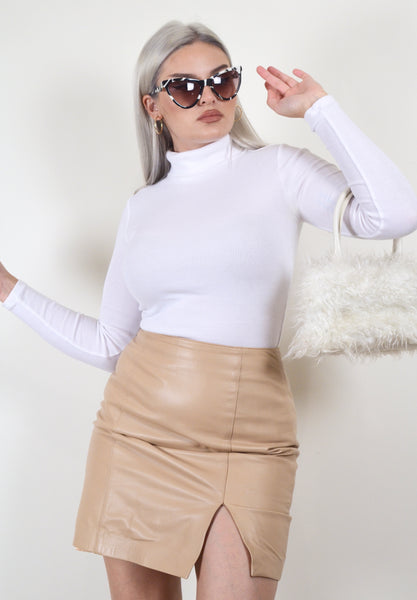 Cache Vintage Beige Leather Skirt